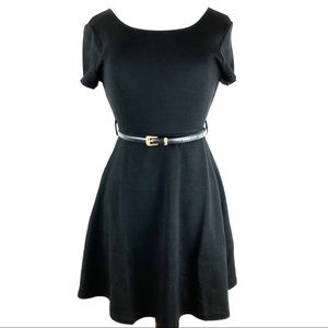 Ya Los Angeles Textured Black Dress with Belt